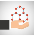 hand holding molecule research vector image vector image