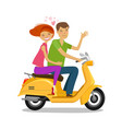happy couple riding moped or scooter travel vector image vector image