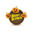 happy halloween web wooden board label with vector image