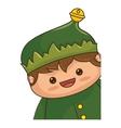 happy merry christmas elf kawaii character vector image