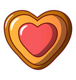 heart biscuit icon cartoon style vector image vector image