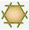 hexagonal green bamboo stick border with rope old vector image vector image