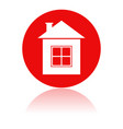home icon red round sign with a building vector image vector image