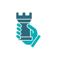 human holding rook chess colored icon board game vector image vector image