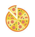 italian pizza sliced with salami flat icon vector image
