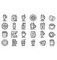 latte icons set outline style vector image vector image