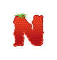 letter n strawberry font red berry lettering vector image vector image