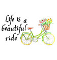 life is a beautiful ride light green bicycle vector image vector image