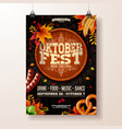 oktoberfest poster with beer vector image vector image