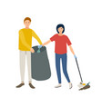 pair of smiling male and female volunteers vector image