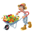 Peasant with wheelbarrow vegetables and fruits vector image