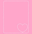 pink frame with white stitches heart vector image
