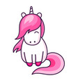 pink sitting unicorn vector image