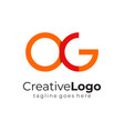 red orange circular initial letter o and g vector image vector image