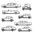 retro cars and auto old models motor vehicles vector image