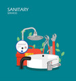 sanitary services flat style design vector image