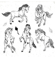 Set of hand drawn monochrome sketch horses vector image vector image