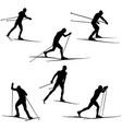 set skiing athletes skiers vector image vector image