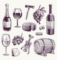sketch wine wine bottle and wineglasses grape vector image vector image