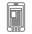 smartphone newspaper icon outline style vector image vector image