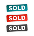 sold stamp flat with shadow on white background vector image vector image