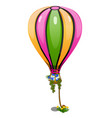 striped hot air balloon with basket of flowers vector image vector image