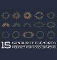 Sun burst vintage shapes collection set of sun ray vector image vector image