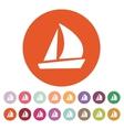 The sailboat icon Sailing ship symbol Flat vector image
