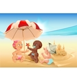 Three baby playing on beach vector image