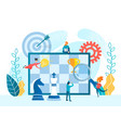 tiny people build a strategy for winning a chess vector image vector image