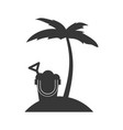 tree palm beach with sand bucket vector image vector image