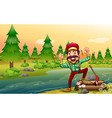 A happy lumberjack at the riverbank vector image vector image