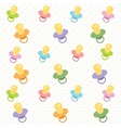 Background with baby pacifiers vector image