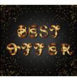 best offer gold sign on black background vector image vector image