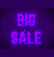 big sale text with violet fire flames vector image vector image
