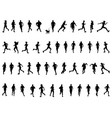 black silhouettes running vector image vector image