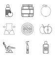 body cleaning icons set outline style vector image vector image