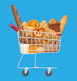 bread icons and shopping cart vector image vector image