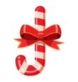Candy cane with bow icon cartoon style vector image vector image
