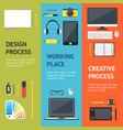 cartoon designer workplace banner vecrtical set vector image vector image