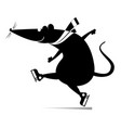 cartoon rat or mouse a skater vector image vector image