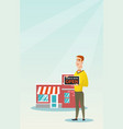 caucasian shop owner holding open signboard vector image vector image