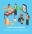 charity for homeless isometric poster vector image vector image