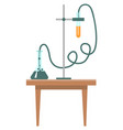 chemistry lesson experiment in laboratory lab vector image vector image