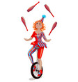 circus girl juggler on a unicycle vector image