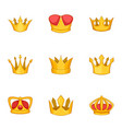 corona icons set cartoon style vector image