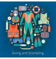 Diving and Snorkeling Icons Set with Equipment vector image