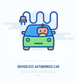 driverless autonomous car thin line icon vector image