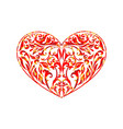 floral hearts red pattern vector image vector image