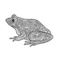 frog isolated black and white ornamental doodle vector image